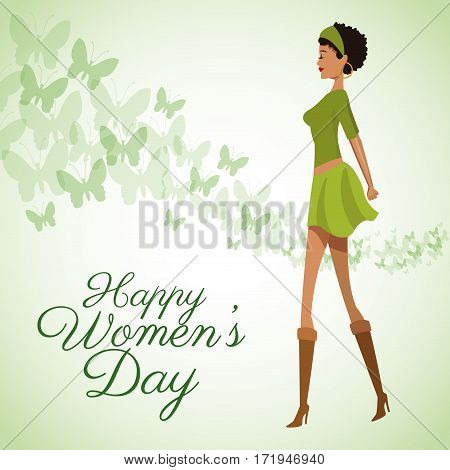 happy womens day card beauty girl green dress vector illustration eps 10