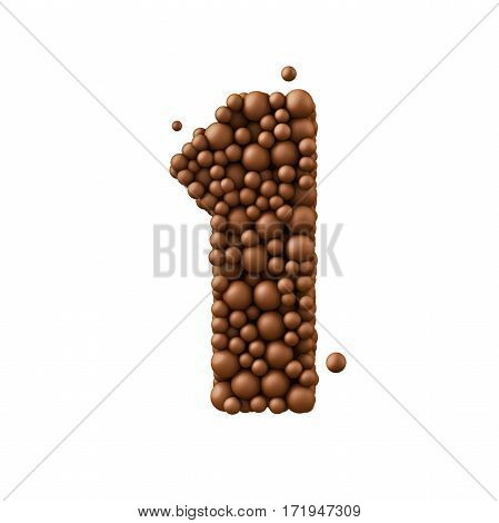 Number 1 made of chocolate bubbles milk chocolate concept 3d illustration.