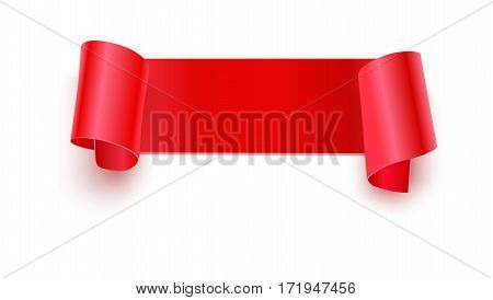 Realistic paper banner with curly corners, edges on a white background closeup. Background, template for your advertisement or message