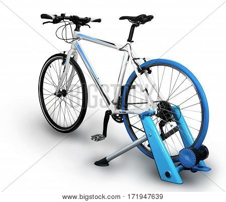 Interactive bike trainer isolated on white background