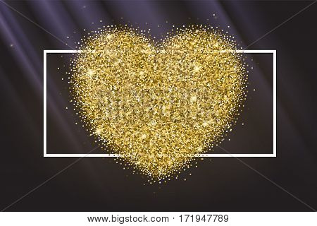 Icon of Heart with gold sparkles and glitter, glow light, bright sequins, sparkle tinsel, shimmer dust. Heart sign isolated on blue background