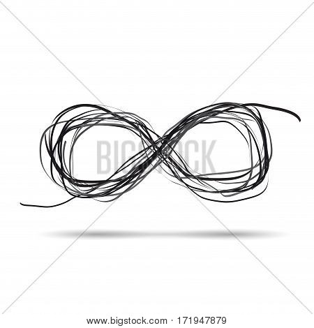 Vector sign scribble infinity, isolated in white background