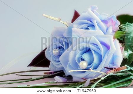 Blue beauties - A bouquet of three blue roses
