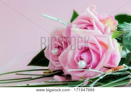 The color of love - A bouquet of three rose roses