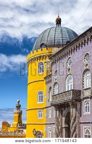 Sintra, Pena National Palace in Sintra (Palacio Nacional da Pena), Portugal.