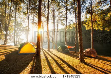Sun rise at Pang-ung Pine forest in Thailand. Popular place for Set up the tent camping and travel in Mae Hong Son on Winter