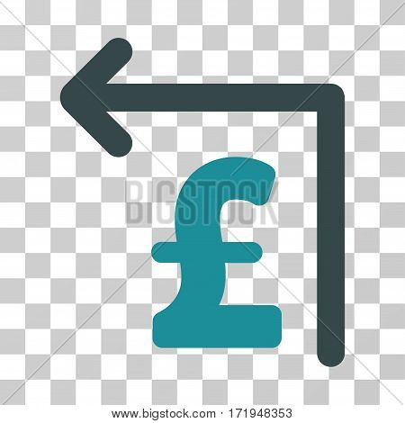 Pound Moneyback vector pictogram. Illustration style is a flat iconic bicolor soft blue symbol on a transparent background.