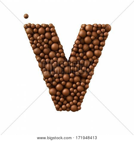 Letter V made of chocolate bubbles milk chocolate concept 3d illustration.