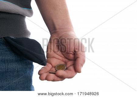Man showing his empty pocket. Isolated on white background