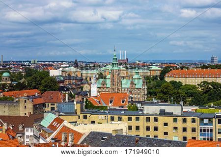 Panorama of Copenhagen with Rosenborg slot, Denmark