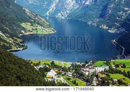 Norwegian natural landscape Gerianger fjord seaside, Norway