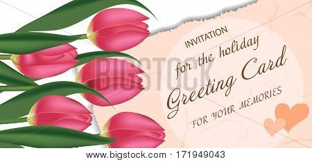 Greeting card with pink tulips with free space for text. Spring flowers. Mother's or Valentine's day background. Vector illustration.