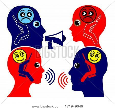 Communication Training. Two people learn to respecting each other instead of shouting at one other