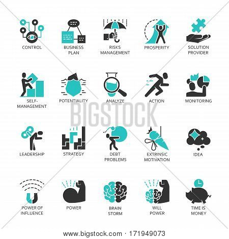 Flat vector set symbols of business process and conducting. Simple black label for buttons, websites, mobile apps and other design needs. Contour graphics icons