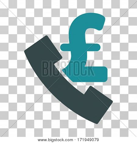 Pound Payphone vector icon. Illustration style is a flat iconic bicolor soft blue symbol on a transparent background.