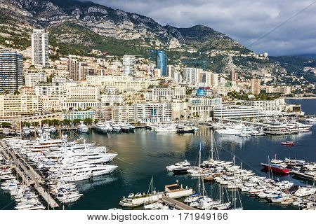 Monaco and Monte Carlo principality yacht marina, south of France