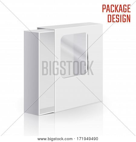 Vector Illustration of Clear Gift Carton Box for Design, Website, Background, Banner. White Package Template with window isolated on white. Retail pack with for your brand on it