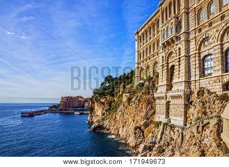 Monaco and Monte Carlo principality. Sea view. Oceanographic museum building