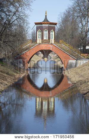 View of the Cross-bridge. Sunny April day. Tsarskoye Selo