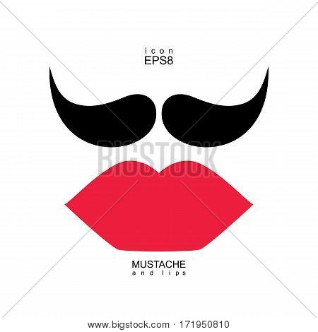 Ladies And Gentlemen Picture. Lips And Mustaches Seamless Pattern.