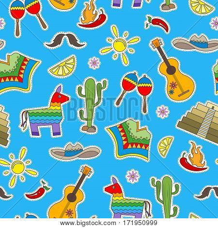 Seamless pattern on the theme of recreation in the country of Mexico colorful patches icons on blue background