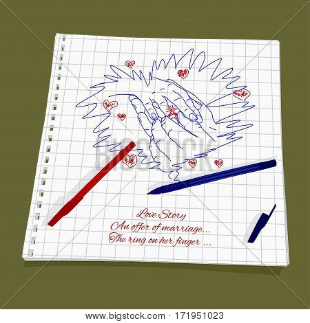 Love Story - An offer of marriage. Vector illustration man and woman got engaged. Cute Romantic simple drawing a red and blue ballpoint pen on squared paper - man's hand puts the ring on woman's finger