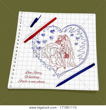 Love Story - Wedding. Vector illustration a new stage of love. Cute Romantic simple drawing a red and blue ballpoint pen on squared paper - groom holds his bride in his arms