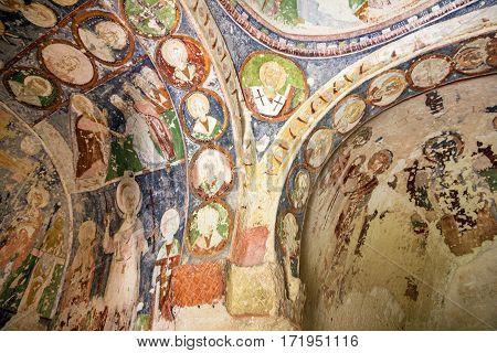 Goreme, Turkey - Jan 4, 2017: Fresco in cave orthodox church El Nazar, Cappadocia, Turkey