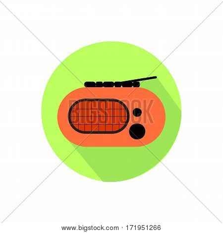 Radio. On A White Background In A Bright Circle