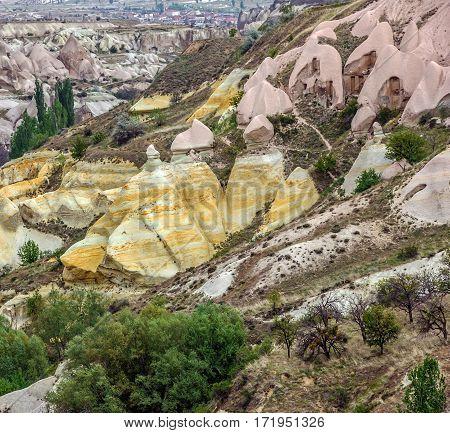 Volcanic rocks. Cappadocia, Turkey. Goreme national park.