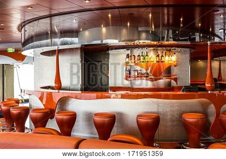 CRUISE SHIP SPLENDIDA - JAN 3, 2017: Bar interior on cruise liner. Liquid discotheque.