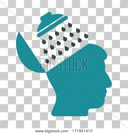 Propaganda Brain Shower vector pictograph. Illustration style is a flat iconic bicolor soft blue symbol on a transparent background.