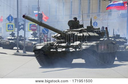 SAINT PETERSBURG, RUSSIA - MAY 09, 2015: Tank column at the parade in honor of Victory day in St. Petersburg