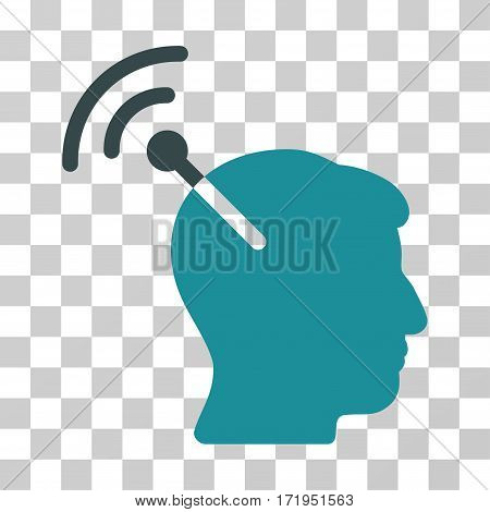 Radio Neural Interface vector pictograph. Illustration style is a flat iconic bicolor soft blue symbol on a transparent background.
