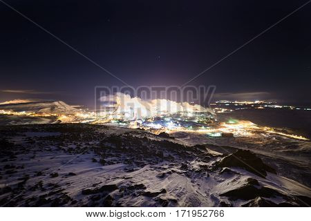 Night picture of steel works, view from top of the nearby mountain.