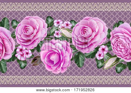 Horizontal seamless border. Floral background. Garlands of flowers pink roses camellias. Old vintage style. Lace beads openwork weaving of pearls.