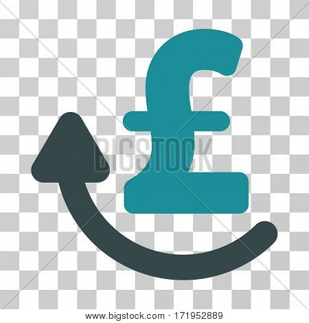 Repay Pound vector pictograph. Illustration style is a flat iconic bicolor soft blue symbol on a transparent background.