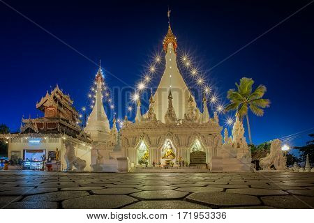 Temple Wat Phra That Doi Kong Mu at Mae Hong Son Thailand. night