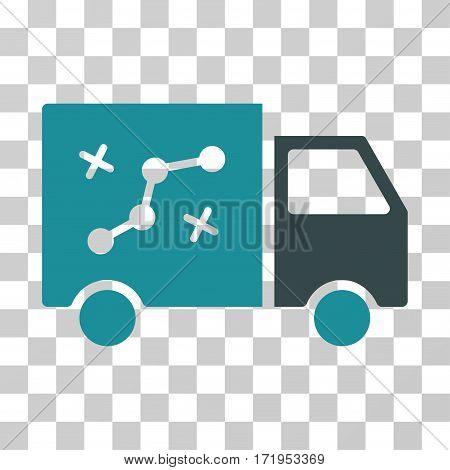 Route Van vector icon. Illustration style is a flat iconic bicolor soft blue symbol on a transparent background.
