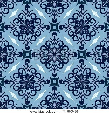Seamless winter blue diamond floral wallpaper pattern.