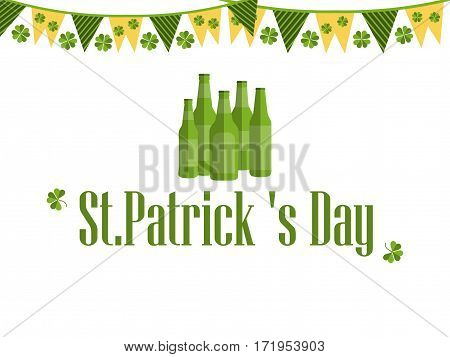 Patrick's day festive background with garland beer and clover. Vector illustration