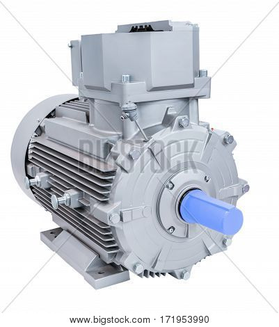 Powerful electric motor, isolated on a white background.