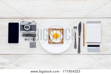 Still breakfast perfectionist hipster. whtie background. studio shot