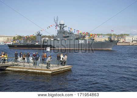 SAINT PETERSBURG, RUSSIA - MAY 09, 2015: The ship