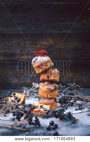 Muffin With Currants On A Dark Background. Muffins Lined Tower, For Travel Along The Surface Of The