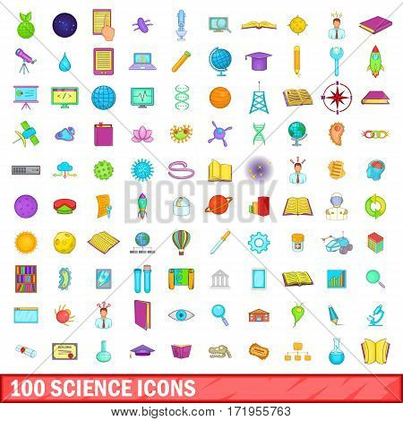 100 science icons set in cartoon style for any design vector illustration