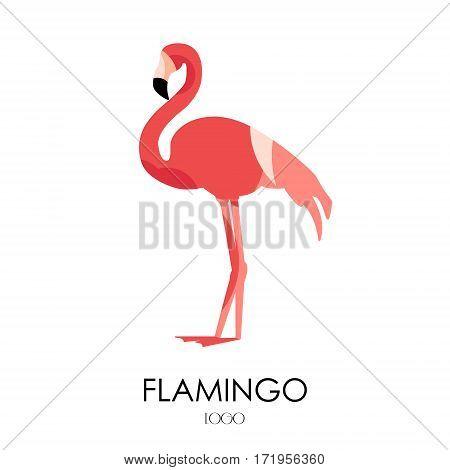 Flamingo vector icon. Logo with bird. Flat design.