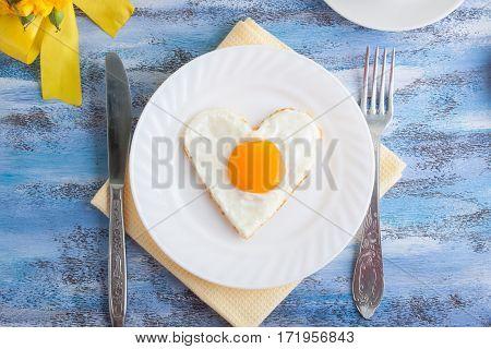 Morning Breakfast, Omelette Heart Shape.