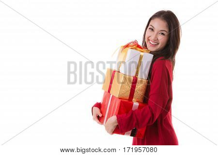 Beautiful Asia woman wear Santa Clause costume christmas girl happy smile hold new year gift box present in isolated on white background