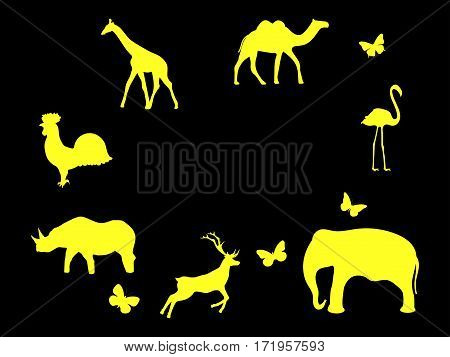 Set of animals. Mammals birds and insects. Yellow icons on a black background. Vector illustration